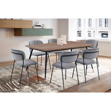 Messina and Carlo Grey Velvet and Walnut 7 Piece Dining Set
