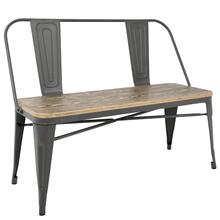 Oregon Bench - Grey Metal, Bamboo