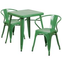 "Commercial Grade 23.75"" Square Green Metal Indoor-Outdoor Table Set with 2 Arm Chairs"