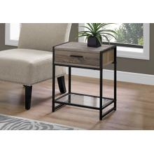 """ACCENT TABLE - 22""""H / DARK TAUPE / BLACK / TEMPERED GLASS"""