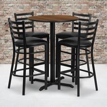 Product Image - 30'' Round Walnut Laminate Table Set with X-Base and 4 Ladder Back Metal Barstools - Black Vinyl Seat
