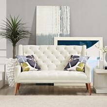 Peruse Performance Velvet Loveseat in Ivory