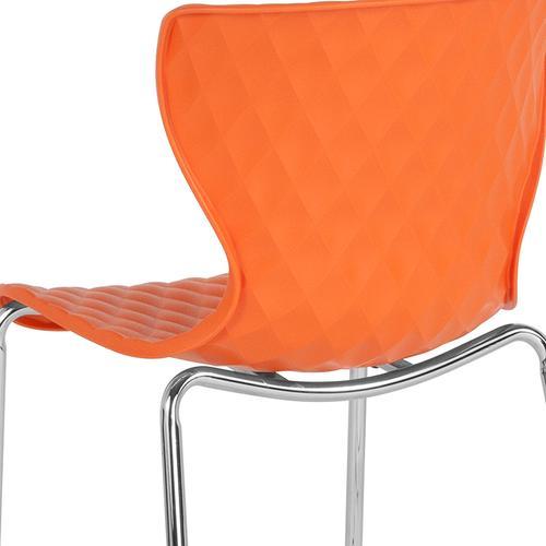 Flash Furniture - Lowell Contemporary Design Orange Plastic Stack Chair