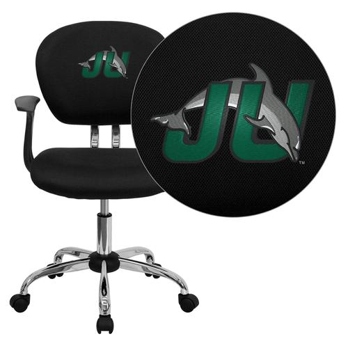 Jacksonville University Dolphins Embroidered Black Mesh Task Chair with Arms and Chrome Base