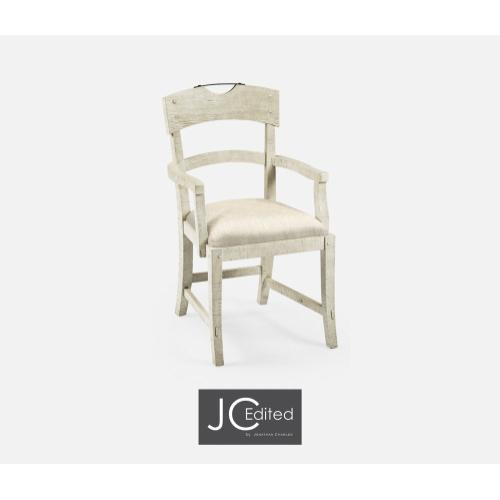 Planked White Wash Driftwood Dining Armchair, Upholstered in Skipper