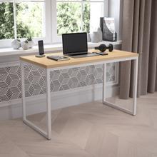 "Tiverton Industrial Modern Desk - Commercial Grade Office Computer Desk and Home Office Desk - 47"" Long (Maple\/White)"