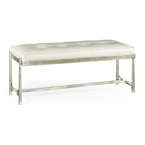 Silver Iron & White Leather Bench