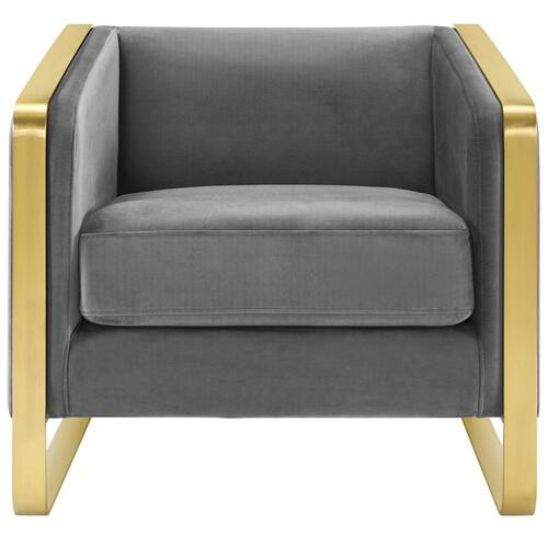 Visualize Accent Club Lounge Performance Velvet Armchair in Gray
