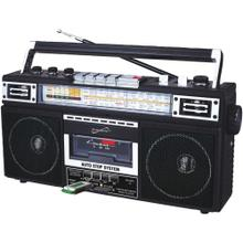 Retro 4-Band Radio and Cassette Player with Bluetooth® (Black)