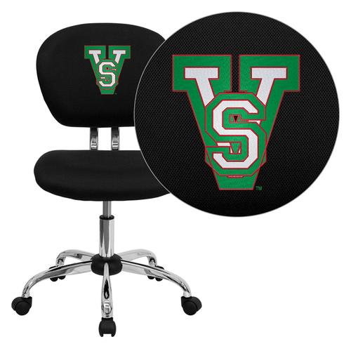 Mississippi Valley State University Devils Embroidered Black Mesh Task Chair with Chrome Base