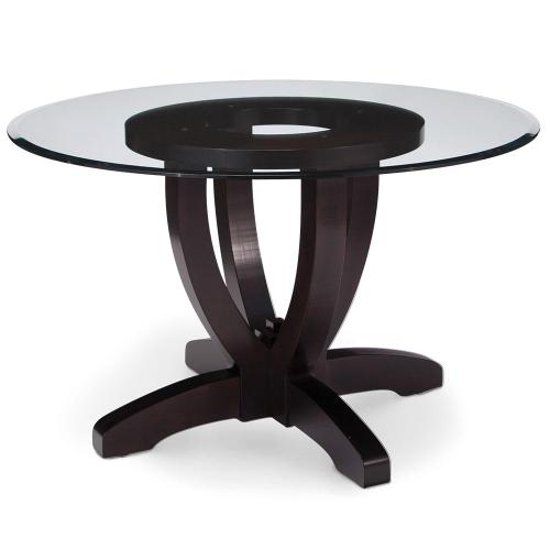 """Simply Amish - Brookfield Single Pedestal Table with Glass Top, 54"""" Round"""