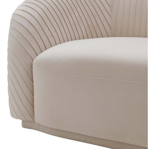 Yara Pleated Beige Velvet Sofa by Inspire Me! Home Decor