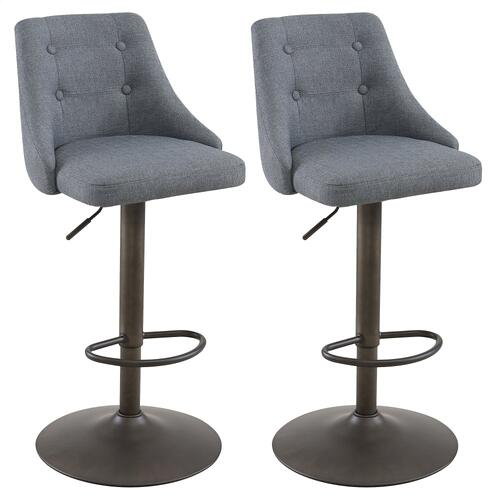 Adyson Air Lift Stool, set of 2 in Grey