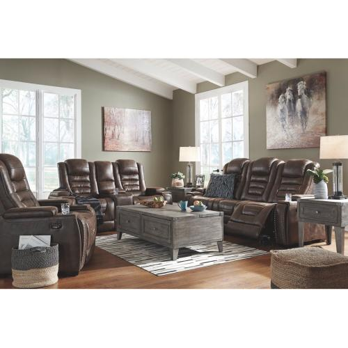 Game Zone Pwr Rec Sofa & Console Loveseat With Adj Headrest Bark