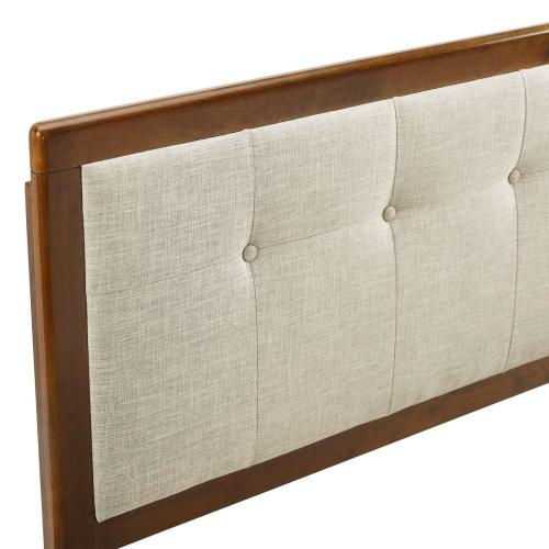 Draper Tufted King Fabric and Wood Headboard in Walnut Beige