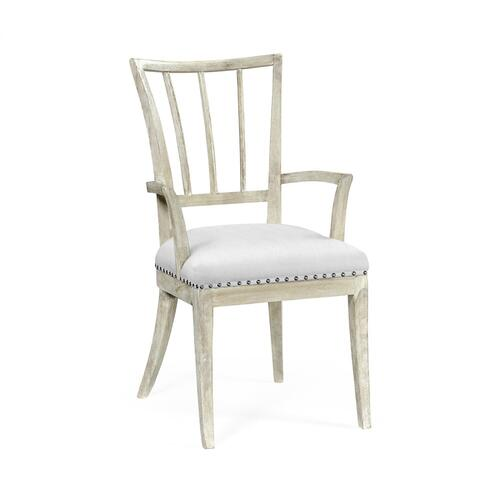 Bywater Washed Acacia Carver Arm Chair, Upholstered in COM