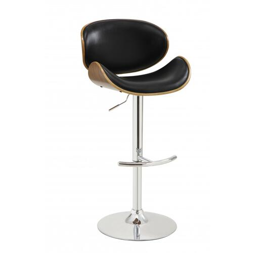 Armen Living Naples Swivel Barstool in Chrome finish with Black Faux Leather and Walnut Veneer Back