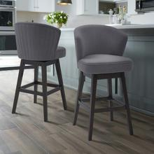 """View Product - Armen Living Brandy 30"""" Bar Height Barstool in Espresso Finish and Grey Fabric"""