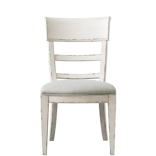 Bella Grigio - Upholstered Side Chair - Chipped White Finish