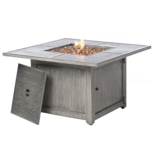 "Tahoe 40"" Square Gas Fire Pit Chat Table w/ Burner"