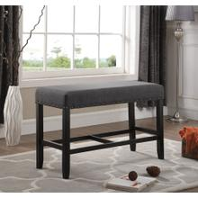 Biony Grey Fabric Counter Height Dining Bench with Nailhead Trim