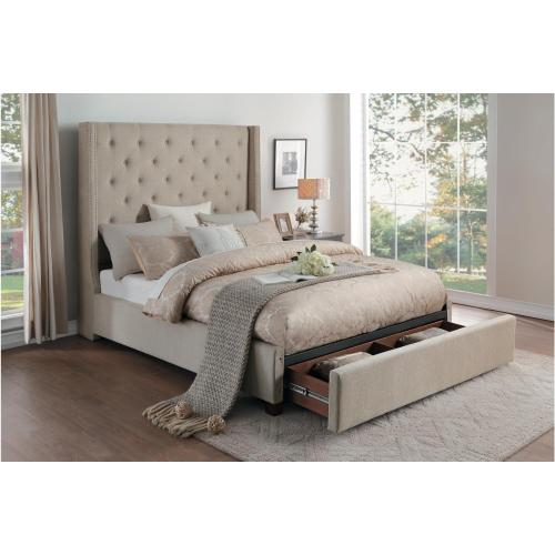 California King Platform Bed with Storage Footboard