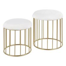 Canary Nesting Ottoman Set - Gold Metal, White Plush