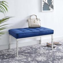 Loft Tufted Medium Upholstered Faux Leather Bench in Silver Navy