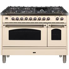 Nostalgie 48 Inch Dual Fuel Natural Gas Freestanding Range in Antique White with Bronze Trim