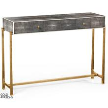 Faux anthracite shagreen console with gilded base