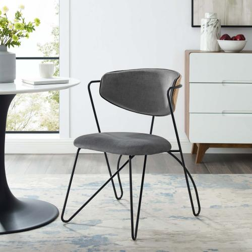 Prevail Black Frame Dining and Accent Performance Velvet Chair in Black Gray