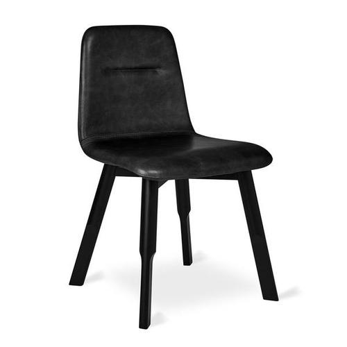 Bracket Dining Chair Saddle Black Leather