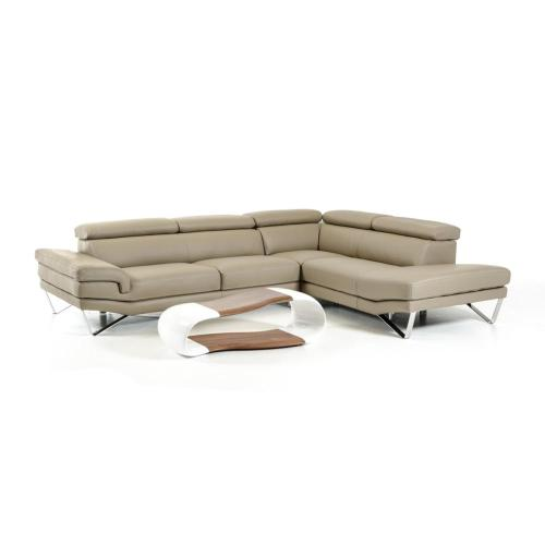 David Ferrari Aria Modern Grey Italian Leather Sectional Sofa