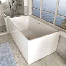 See Details - Free-standing soaking bathtub made of luster white acrylic with an overflow and polished chrome drain, net weight 110 lbs, water capacity 79 gal.