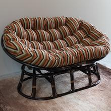 Mamasan Rattan Double Papasan Chair with Jacquard Chenille Cushion - Walnut/Cadillac