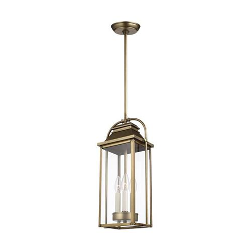 Wellsworth Pendant Painted Distressed Brass
