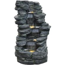 See Details - Hanover 38-In. 4-Tier Stacked Stone Indoor or Outdoor Garden Fountain with LED Lights for Patio, Deck, Porch, HAN039FNTN-01