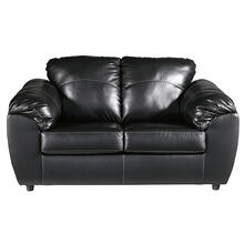 Benchcraft Fezzman Loveseat in Black Leather [FSD-6529LS-BLK-GG]
