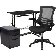 3 Piece Office Set - Adjustable Computer Desk, Ergonomic Mesh Office Chair and Locking Mobile Filing Cabinet with Inset Handles