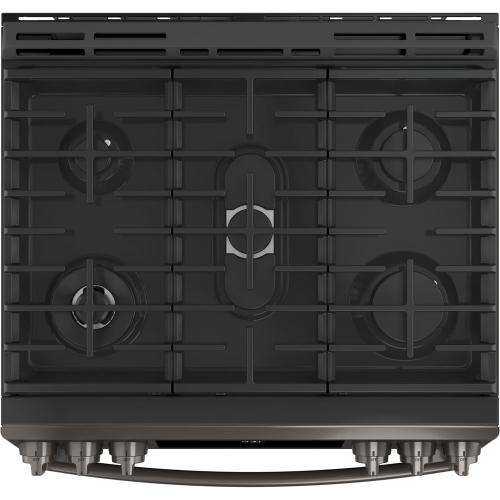 "GE Profile 30"" Gas Slide-In Front Control Convection Range with Storage Drawer Black Stainless Steel PCGS930BELTS"