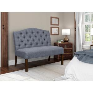 Camelback Tufted Entryway Bench in Chambray Blue