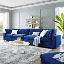 Commix Down Filled Overstuffed Performance Velvet 4-Seater Sofa in Navy