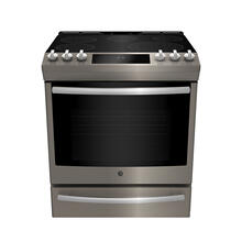 """See Details - GE Profile 30"""" Electric Slide-In True European Convection with Precise Air Range with Baking Drawer Slate - PCS940EMES"""