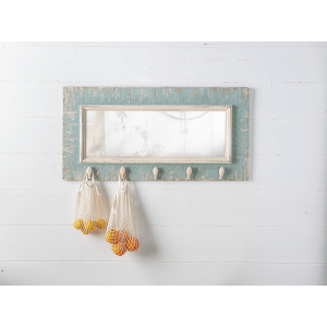 Distressed Blue Wall Mirror with Fish Hooks