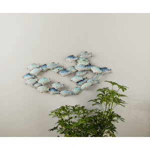 Blue & White Ombre Layered Fish Wall Decor
