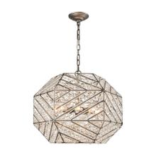 Constructs 8-Light Chandelier in Weathered Zinc with Clear Crystal
