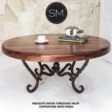 """See Details - Spanish Style Solid Mesquite Wood Coffee Table - Iron base-1211AAA - 38""""Rd / Bullnose / Turquoise"""