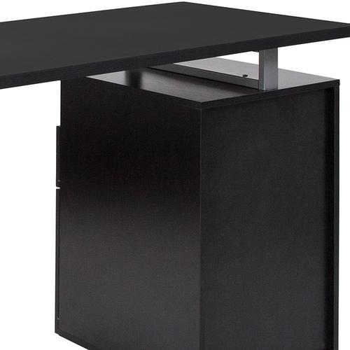 Flash Furniture - Harwood Dark Ash Wood Grain Finish Computer Desk with Two Drawers and Silver Metal Frame