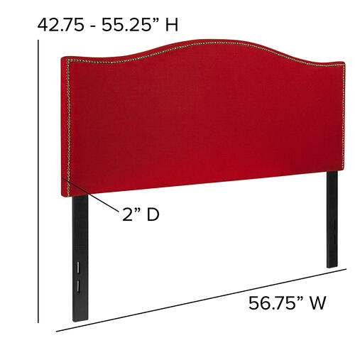 Lexington Upholstered Full Size Headboard with Accent Nail Trim in Red Fabric