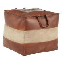 Cobbler Pouf - Brown Leather, Tan Canvas